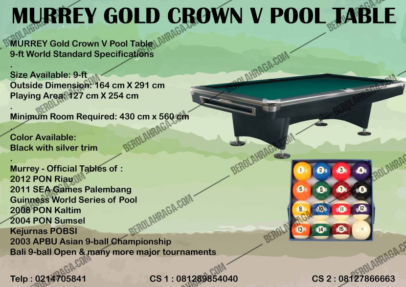 Murrey Gold Crown V Pool Table | 081289854040